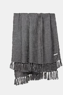 Soft woven plaid with shiny yarn, ANTHRACITE, detail