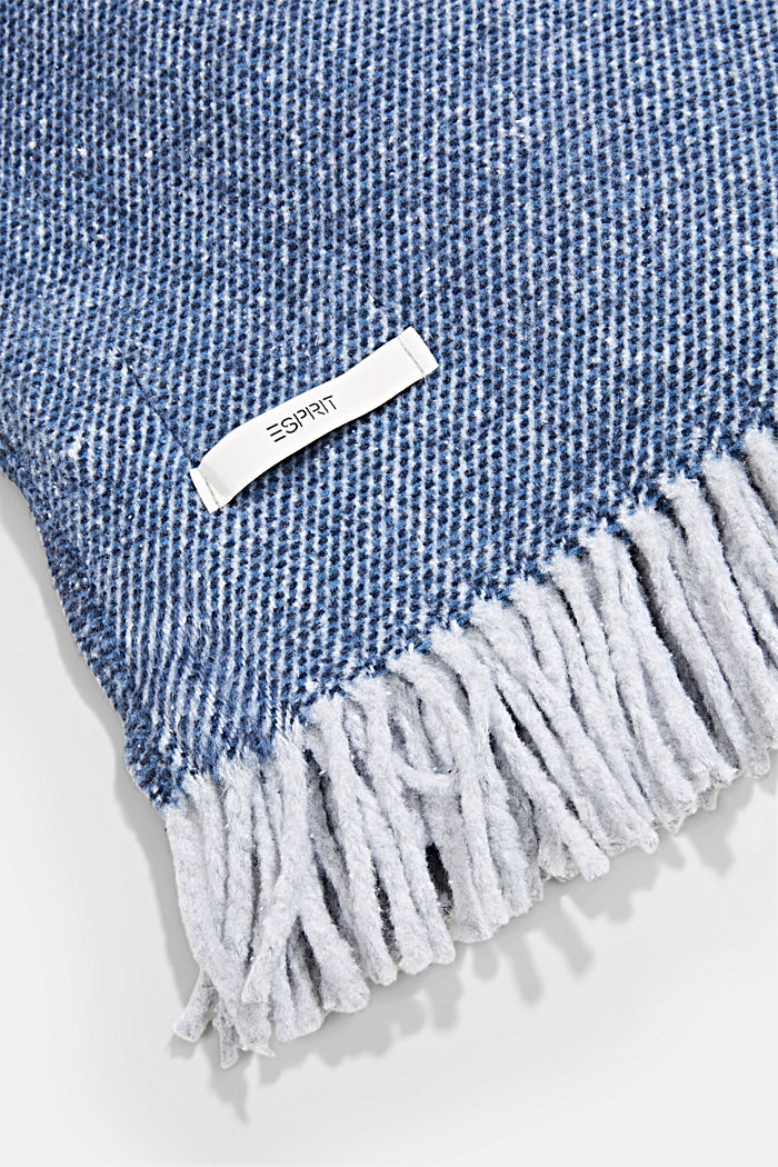 Soft throw with cotton, NAVY, detail image number 2