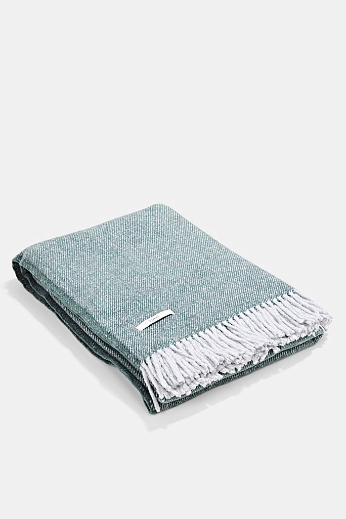 Soft throw with cotton, DARK GREEN, detail image number 0