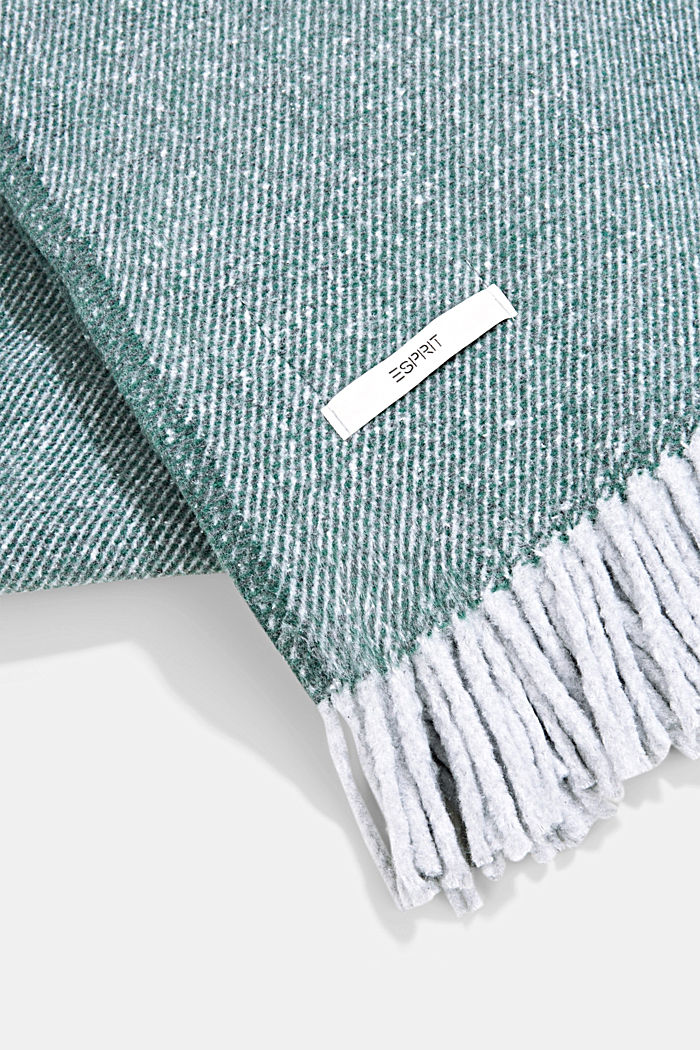 Soft throw with cotton, DARK GREEN, detail image number 2