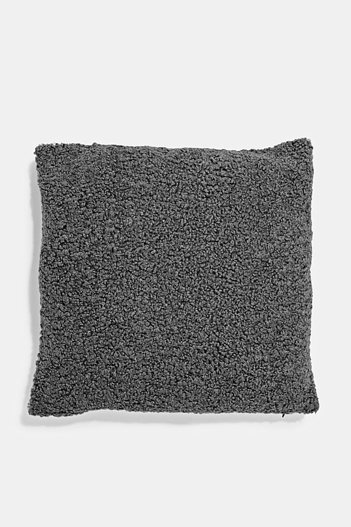 Plush cushion cover, ANTHRACITE, detail image number 0