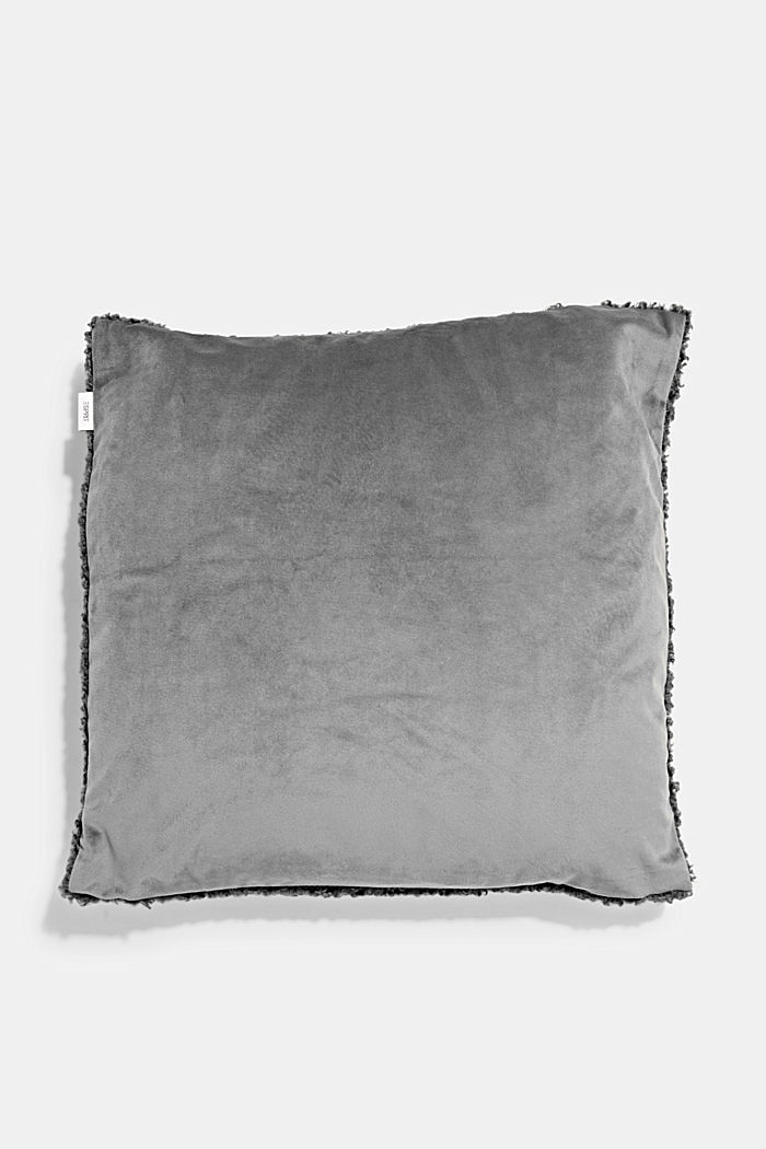 Plush cushion cover, ANTHRACITE, detail image number 2