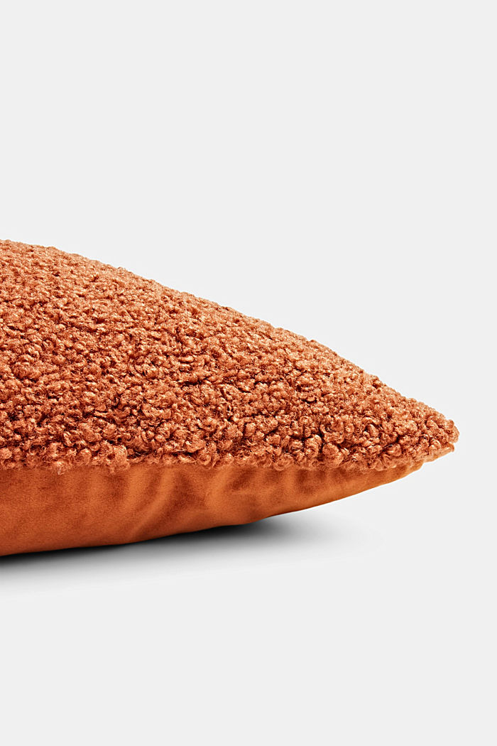 Plush cushion cover, RUST RED, detail image number 1