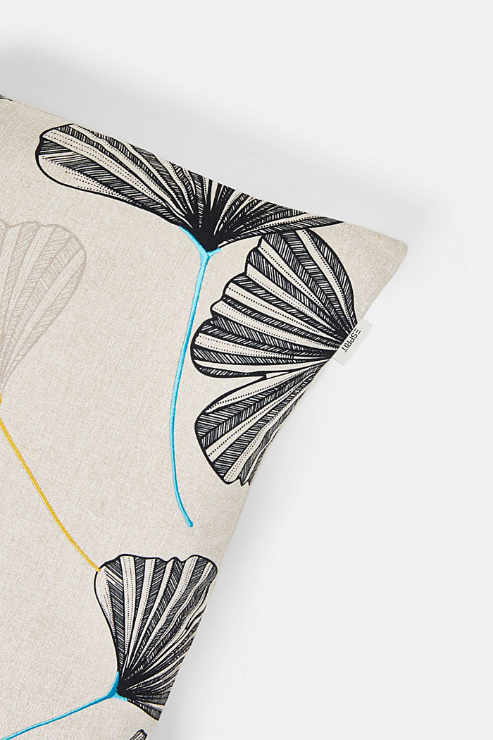 Funda de cojín con diseño de hojas bordado, MULTICOLOR, detail image number 1