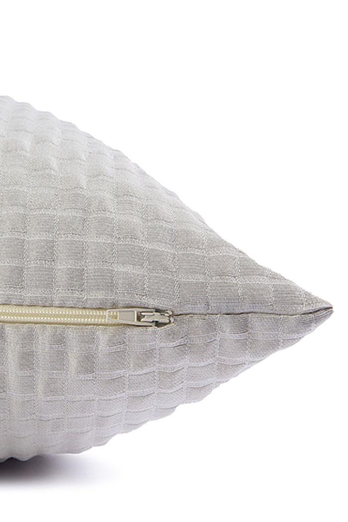 Kierrätettyä: 3D-ruutukuvioinen tyynynpäällinen, LIGHT GREY, detail image number 3