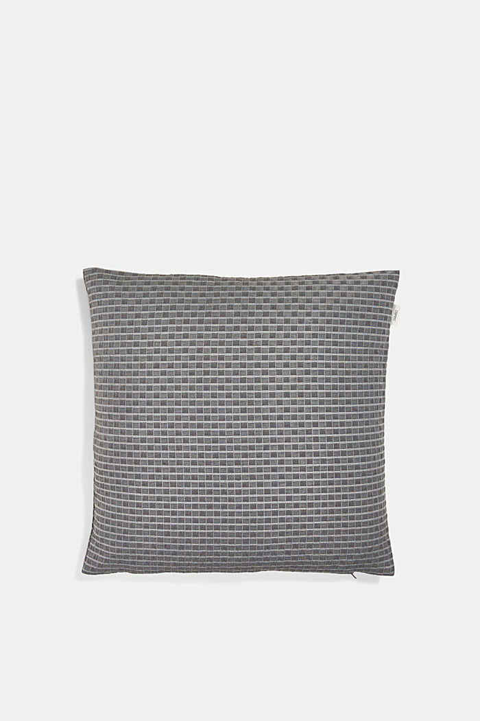 Recycled: Cushion cover with a 3D check pattern, ANTHRACITE, detail image number 0