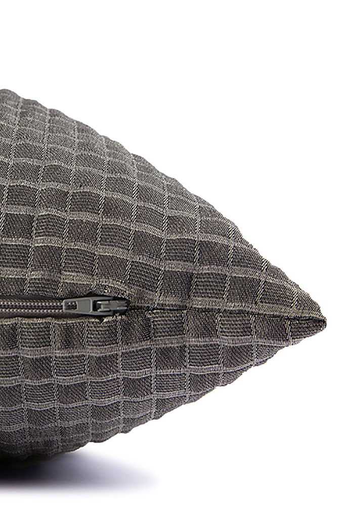Recycled: Cushion cover with a 3D check pattern, ANTHRACITE, detail image number 3