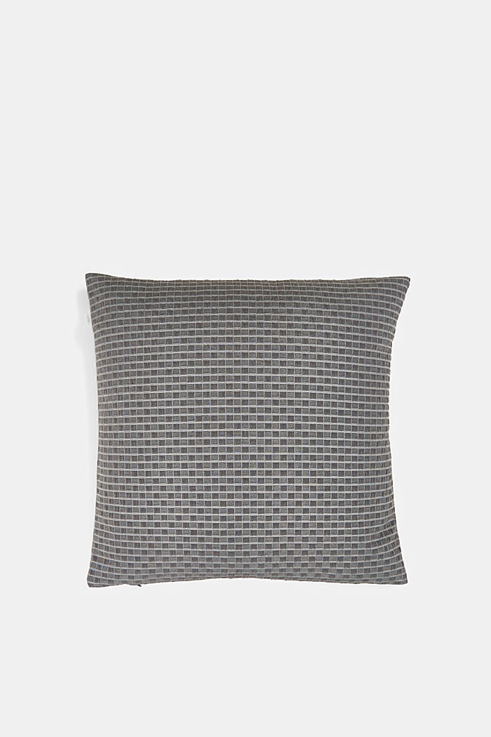 Recycled: Cushion cover with a 3D check pattern, ANTHRACITE, detail image number 2