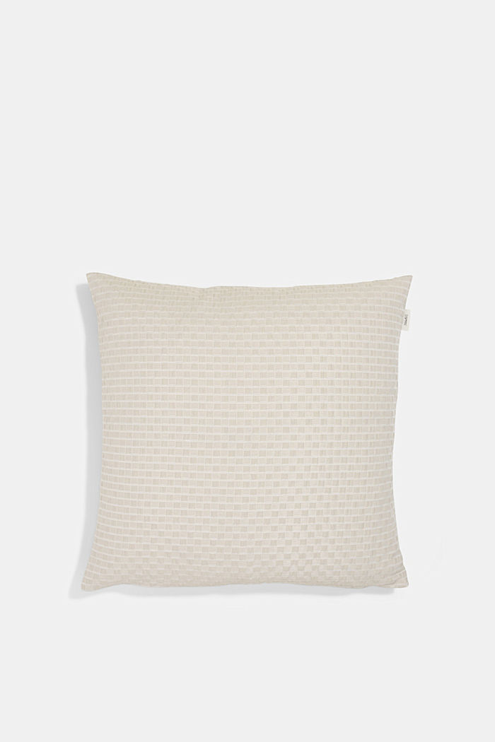 Recycled: Cushion cover with a 3D check pattern, BEIGE, detail image number 0