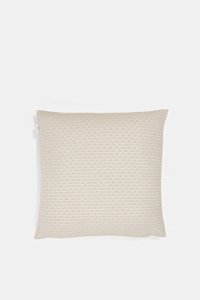 Recycled: Cushion cover with a 3D check pattern, BEIGE, detail image number 2