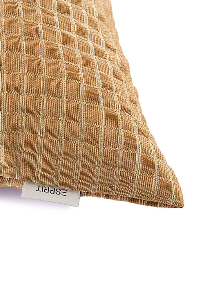 En matière recyclée: La housse de coussin à carreaux en 3D, CURRY, detail image number 1