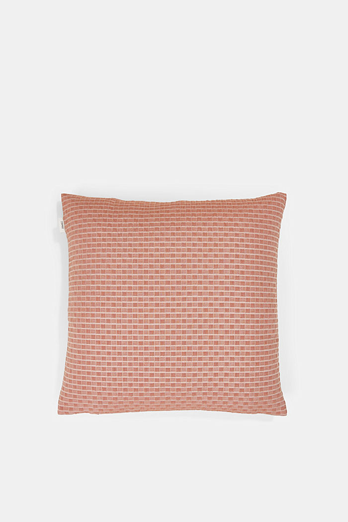 Recycled: Cushion cover with a 3D check pattern, BRONZE, detail image number 2