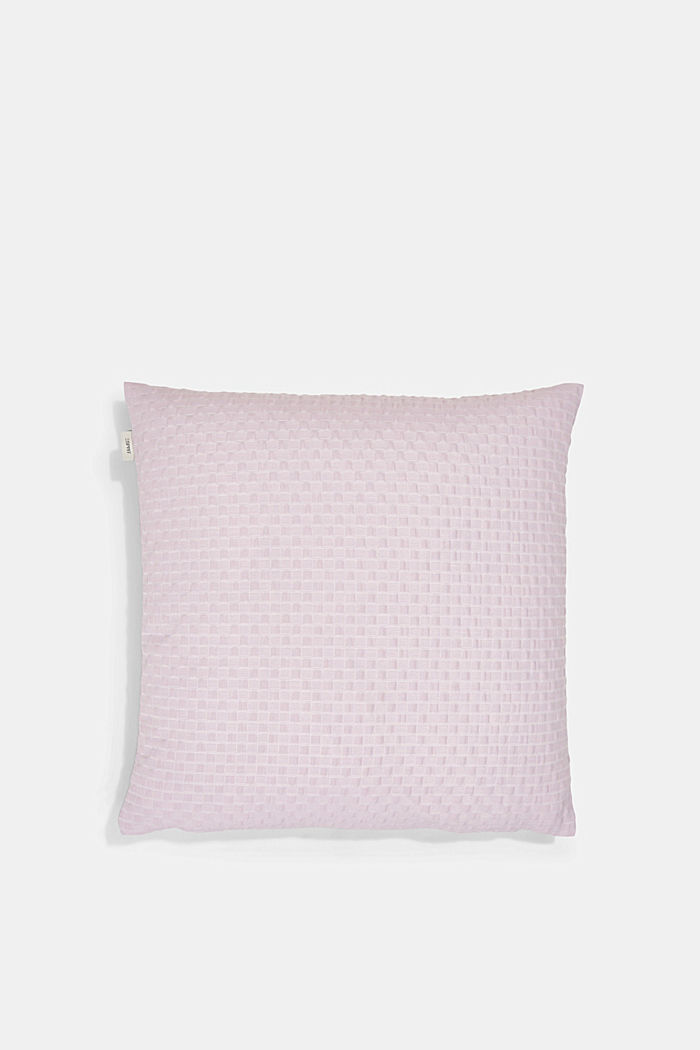 Recycled: Cushion cover with a 3D check pattern, LILAC, detail image number 2