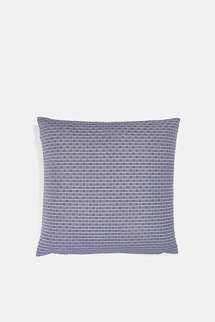 Recycled: Cushion cover with a 3D check pattern, NAVY, detail image number 2