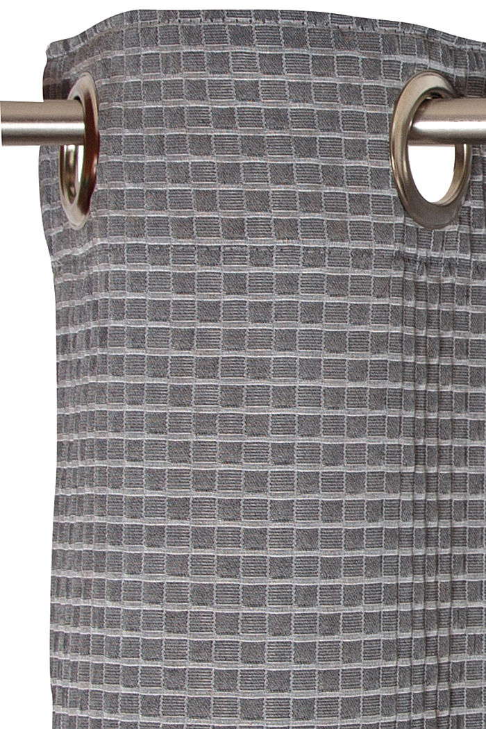 Recycled: eyelet curtain with a checked texture, ANTHRACITE, detail image number 1