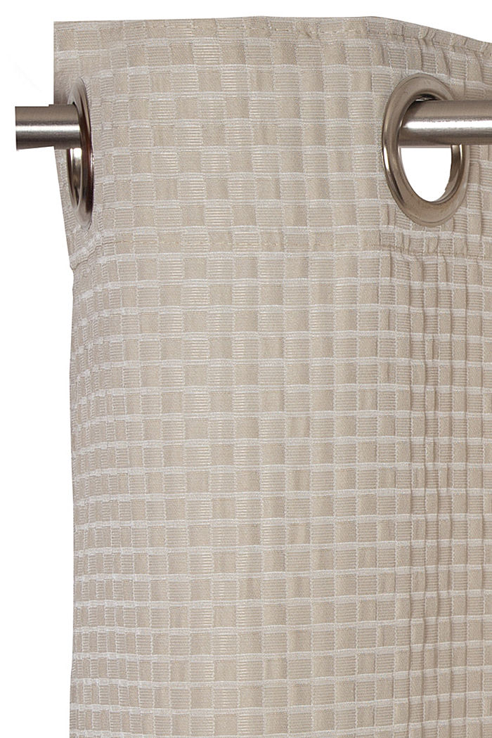 Recycled: eyelet curtain with a checked texture, BEIGE, detail image number 1