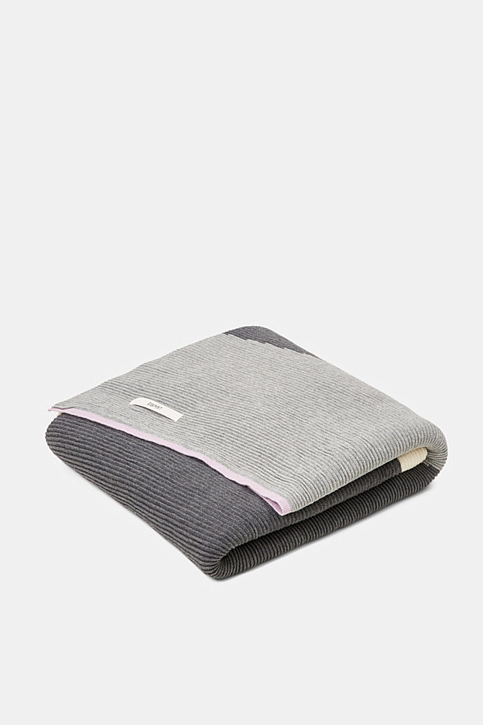 Textured knit plaid, 100% cotton, GREY, detail image number 0