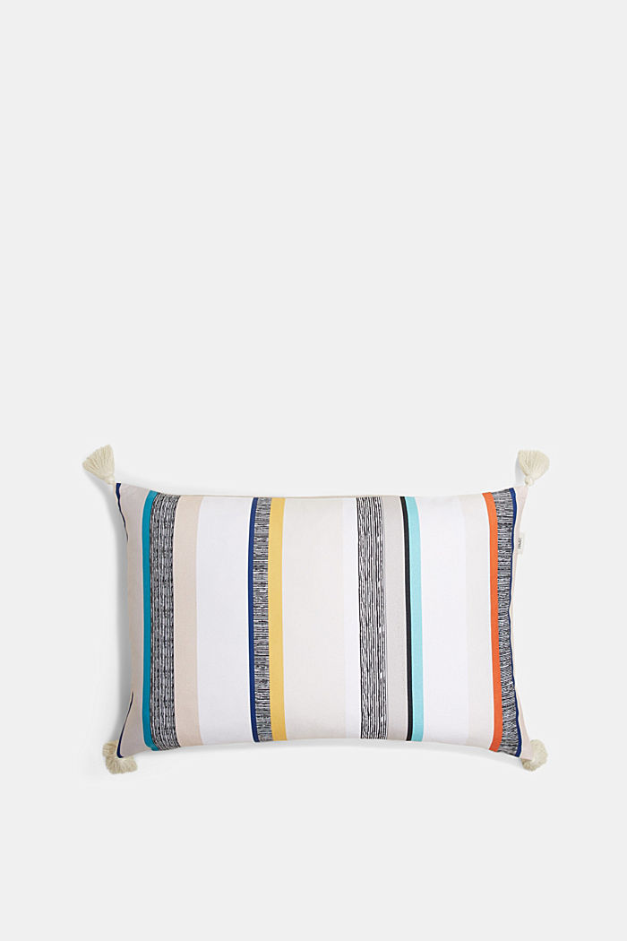 Cushion cover with stripes and tassel pendants, WHITE COLORWAY, detail image number 0