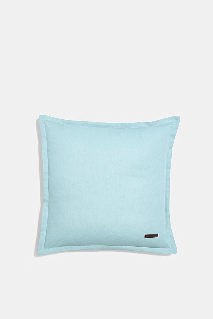 Housse de coussin bicolore en 100% coton, AQUA, detail image number 0