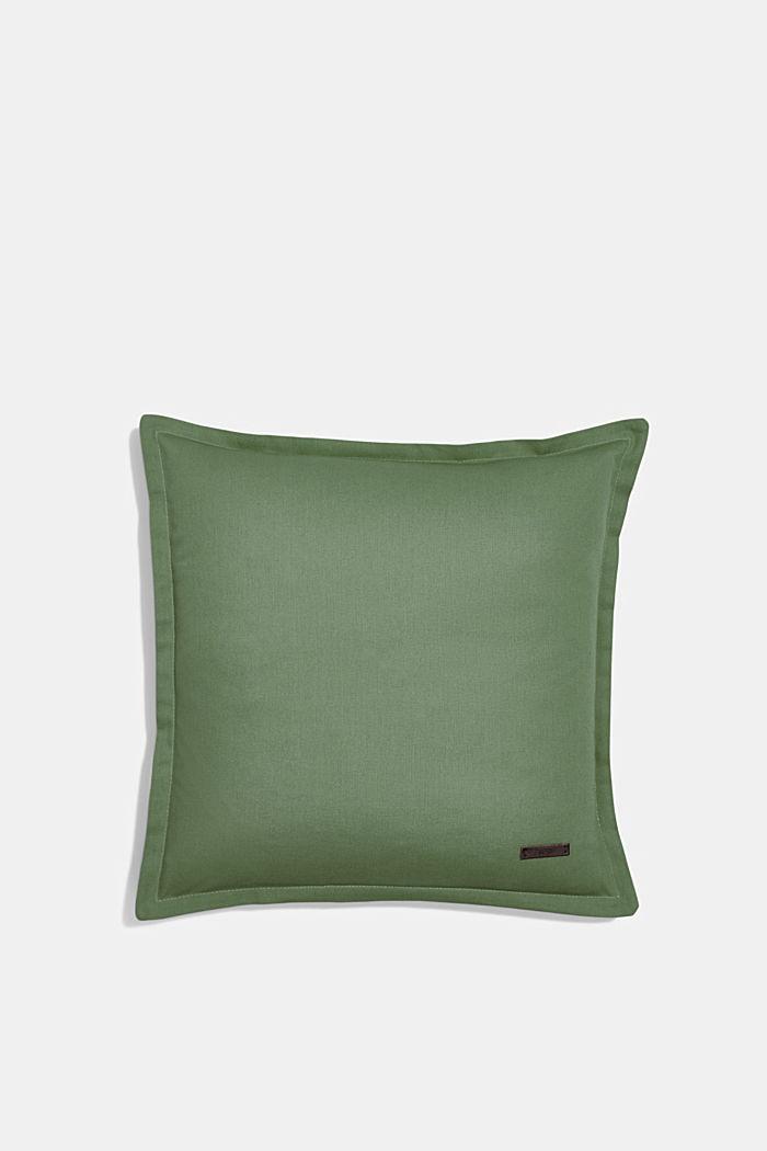 Housse de coussin bicolore en 100% coton, GREEN, detail image number 0