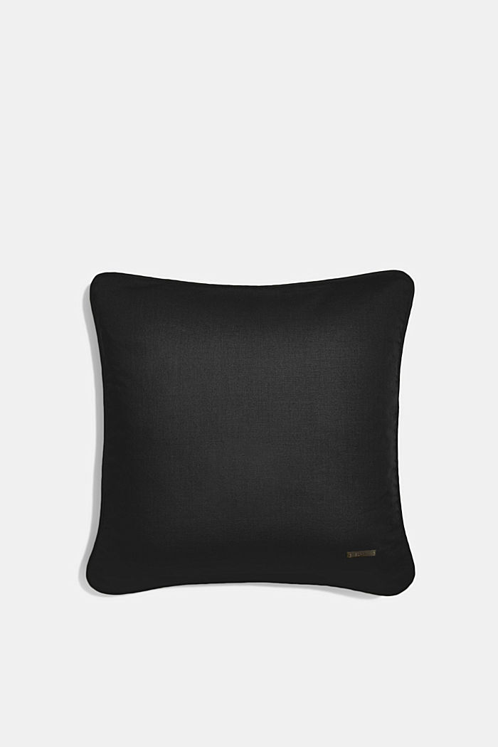 Cushion cover made of 100% cotton, BLACK, detail image number 0