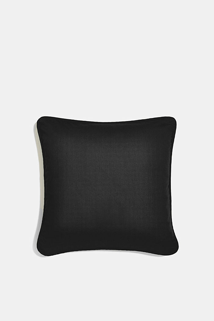 Cushion cover made of 100% cotton, BLACK, detail image number 2