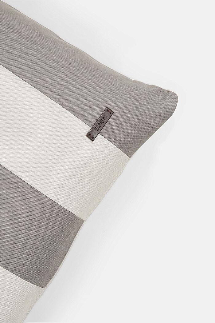 Housse de coussin à rayures en 100% coton, DARK GREY, detail image number 1