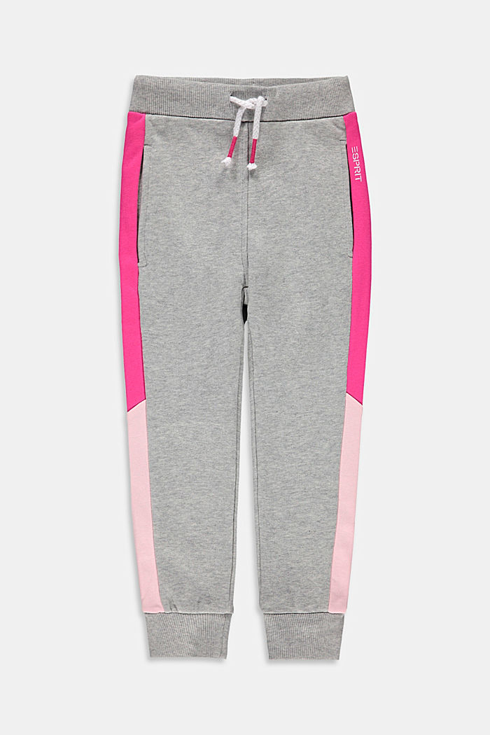 Sweatshirt tracksuit bottoms with colour blocking, 100% cotton