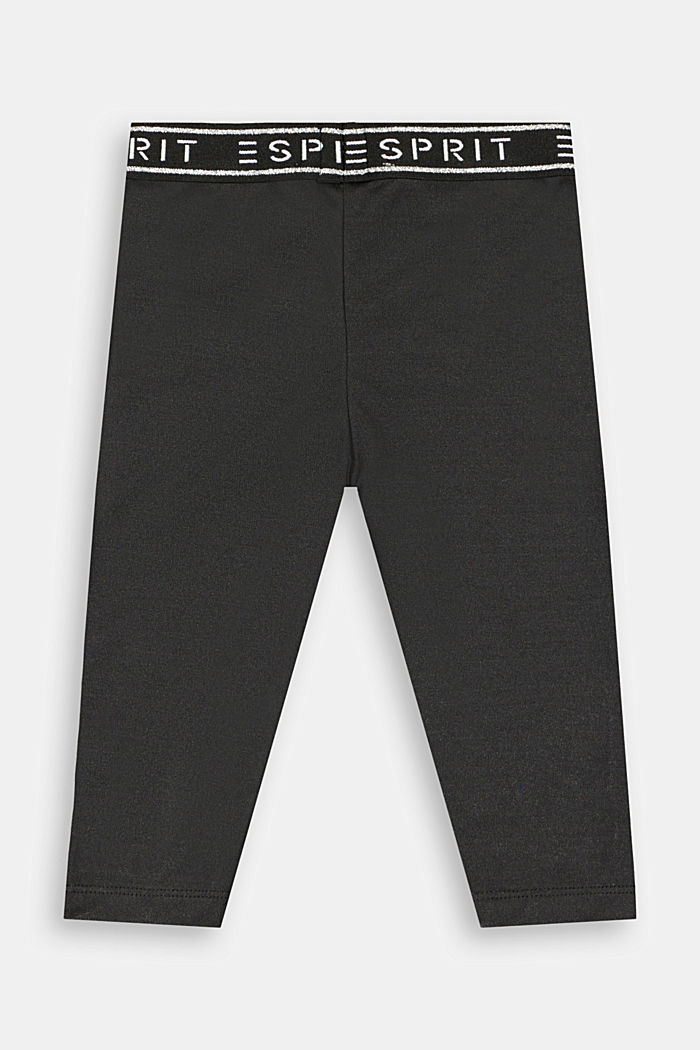 Capri leggings with a glittering logo, BLACK, detail image number 1