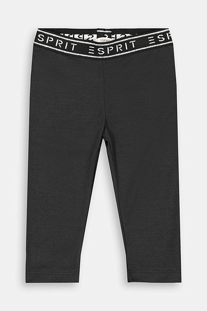 Capri leggings with a glittering logo, BLACK, detail image number 0