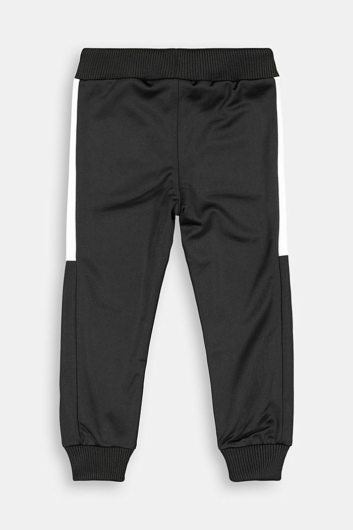 Sweatshirt tracksuit bottoms with contrasting details, BLACK, detail image number 1