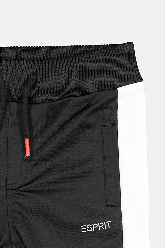 Sweatshirt tracksuit bottoms with contrasting details, BLACK, detail image number 2