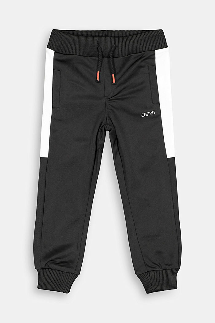 Sweatshirt tracksuit bottoms with contrasting details, BLACK, detail image number 0