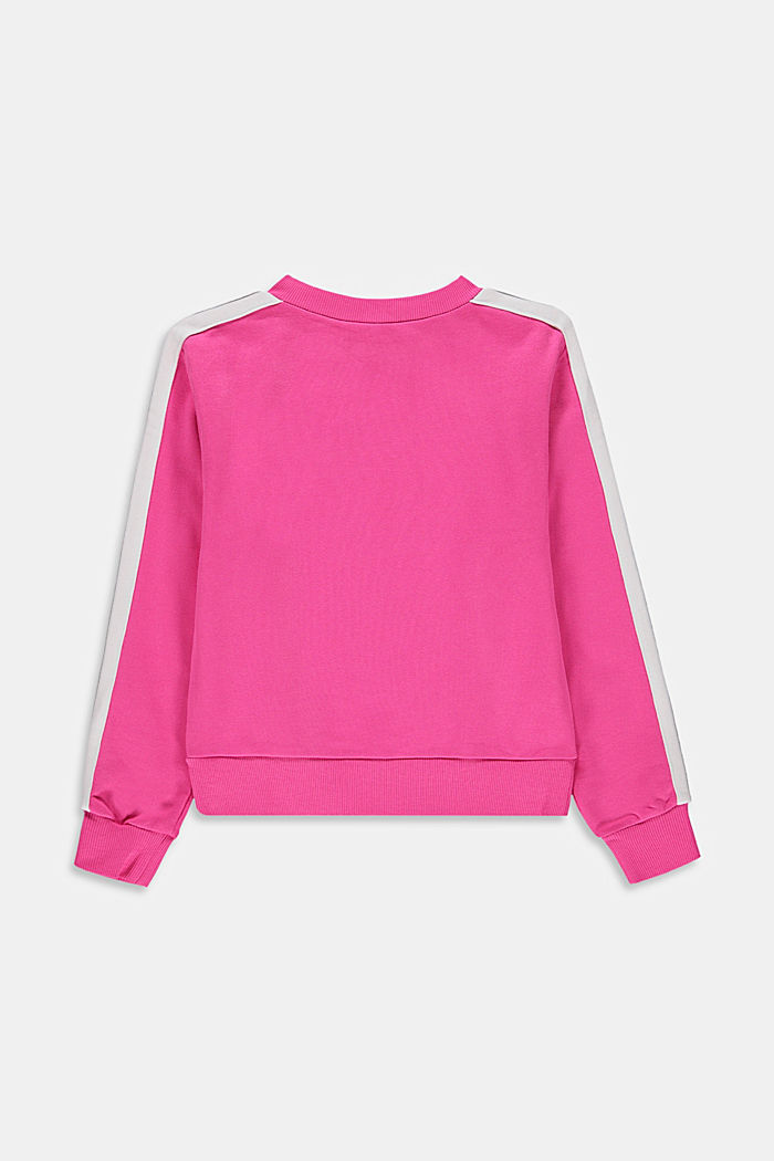 Sweatshirt with striped details, 100% cotton, PINK, detail image number 1