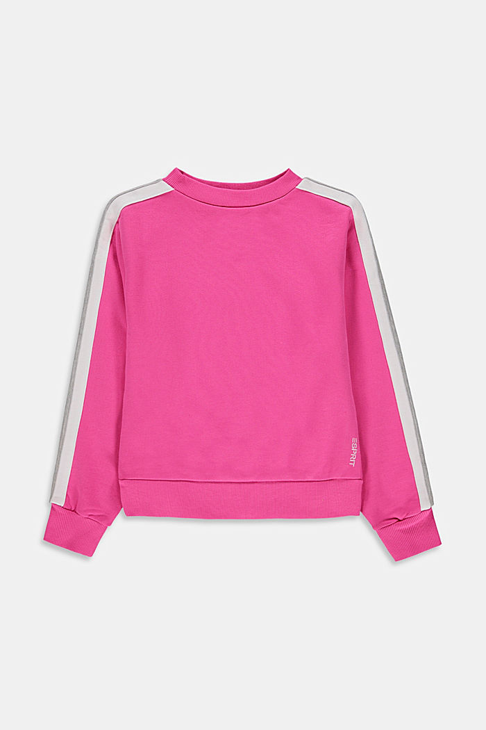 Sweatshirt with striped details, 100% cotton, PINK, detail image number 0