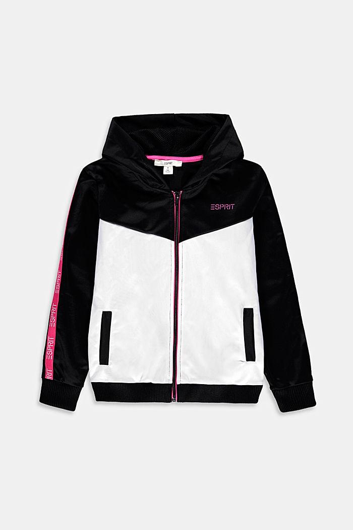 Colour block sweatshirt jacket, BLACK, detail image number 0