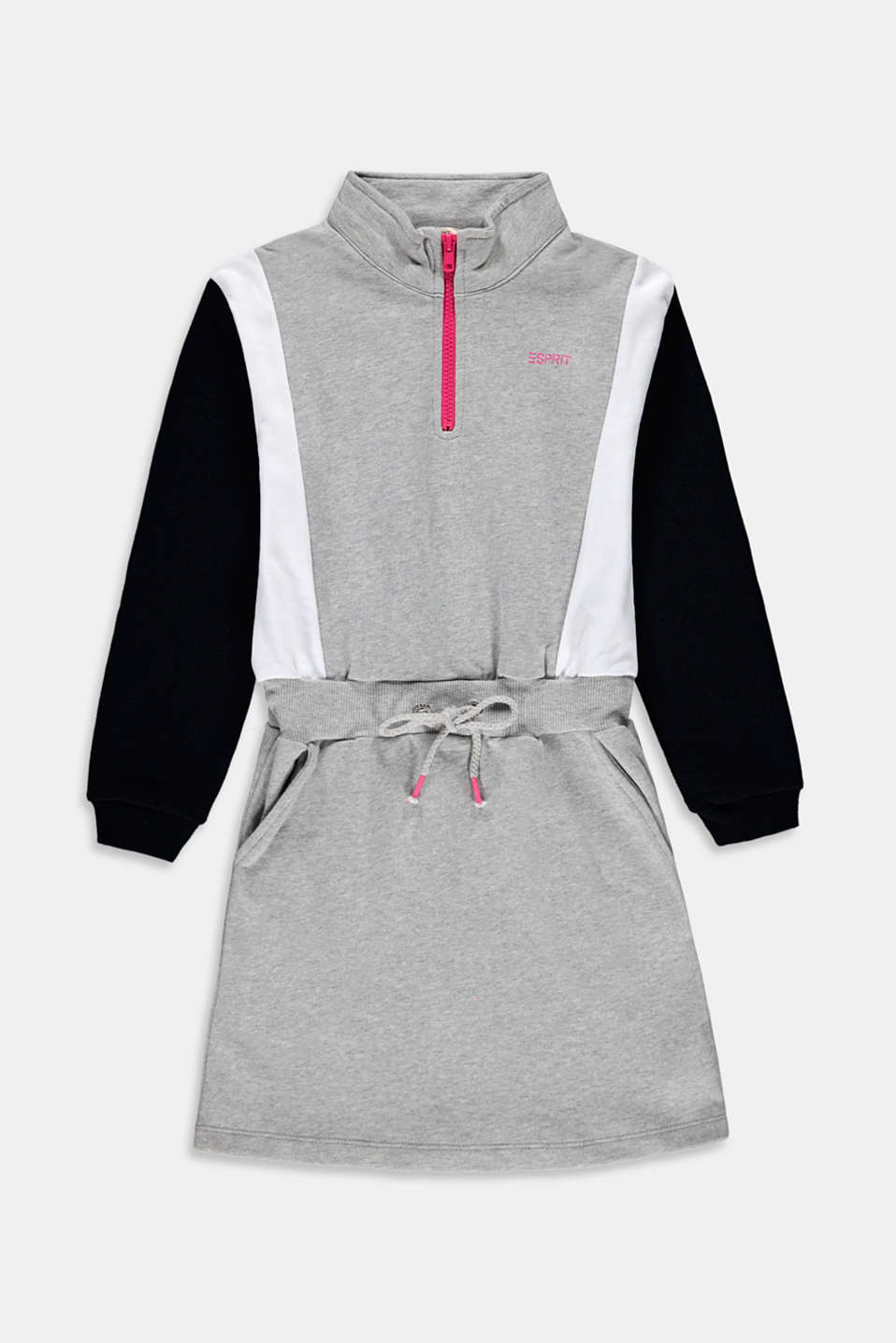 Esprit - Color block-sweatkjole i 100% bomuld