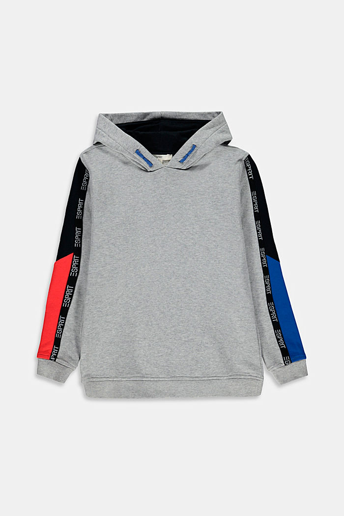 Sweatshirt hoodie with logo tape, 100% cotton