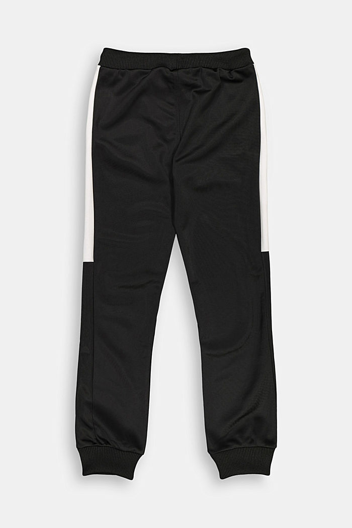 Tracksuit bottoms with contrasting stripes, BLACK, detail image number 1