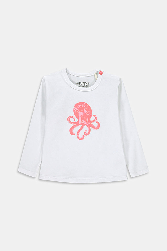 Long sleeve T-shirt with an octopus print, organic cotton, WHITE, detail image number 0