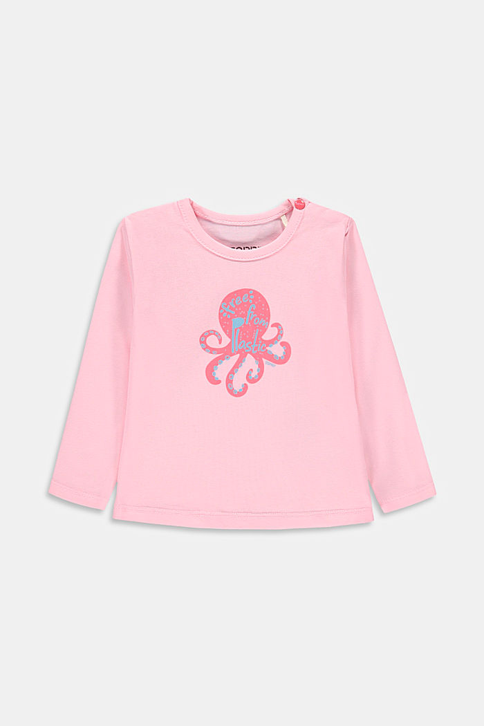 Long sleeve T-shirt with an octopus print, organic cotton, BLUSH, detail image number 0