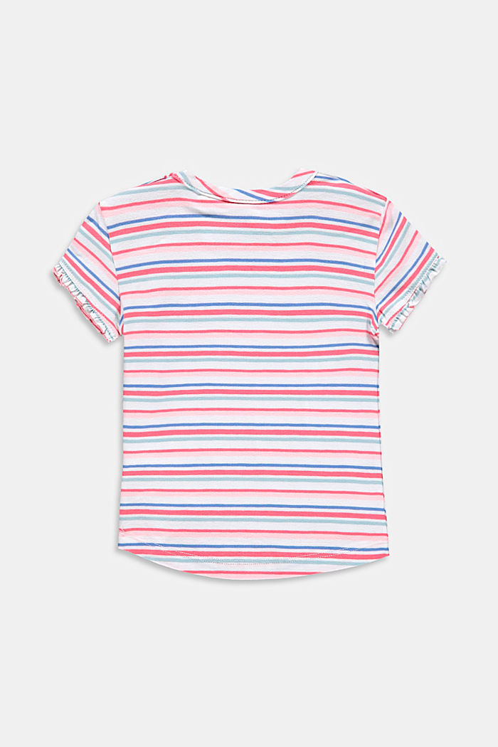 Striped T-shirt with a print, made with organic cotton, WHITE, detail image number 1