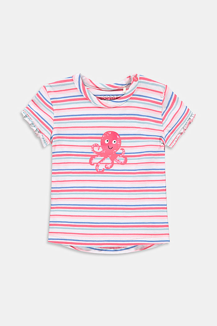 Striped T-shirt with a print, made with organic cotton, WHITE, detail image number 0