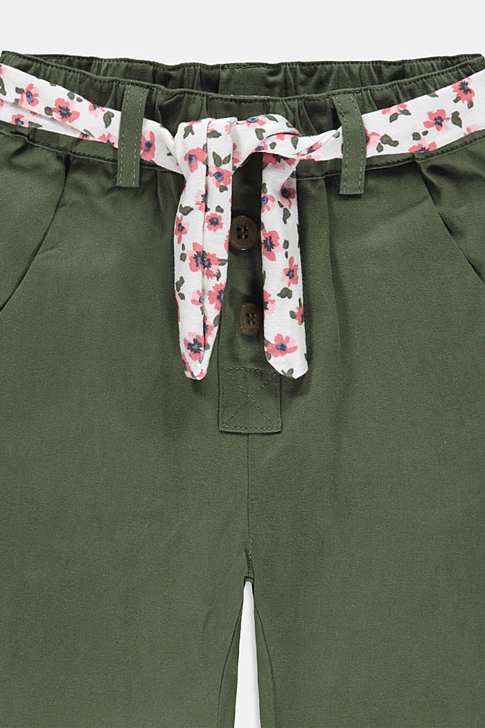 Trousers with a belt and elasticated waistband, DARK KHAKI, detail image number 2