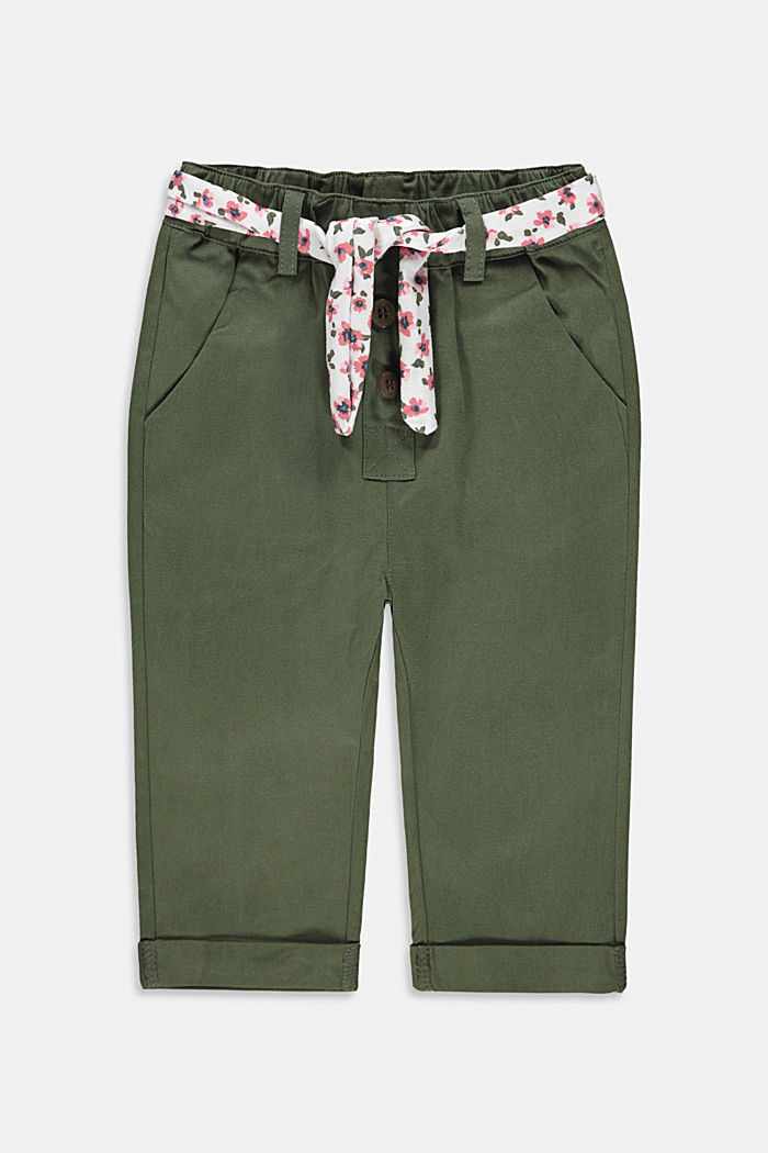 Trousers with a belt and elasticated waistband