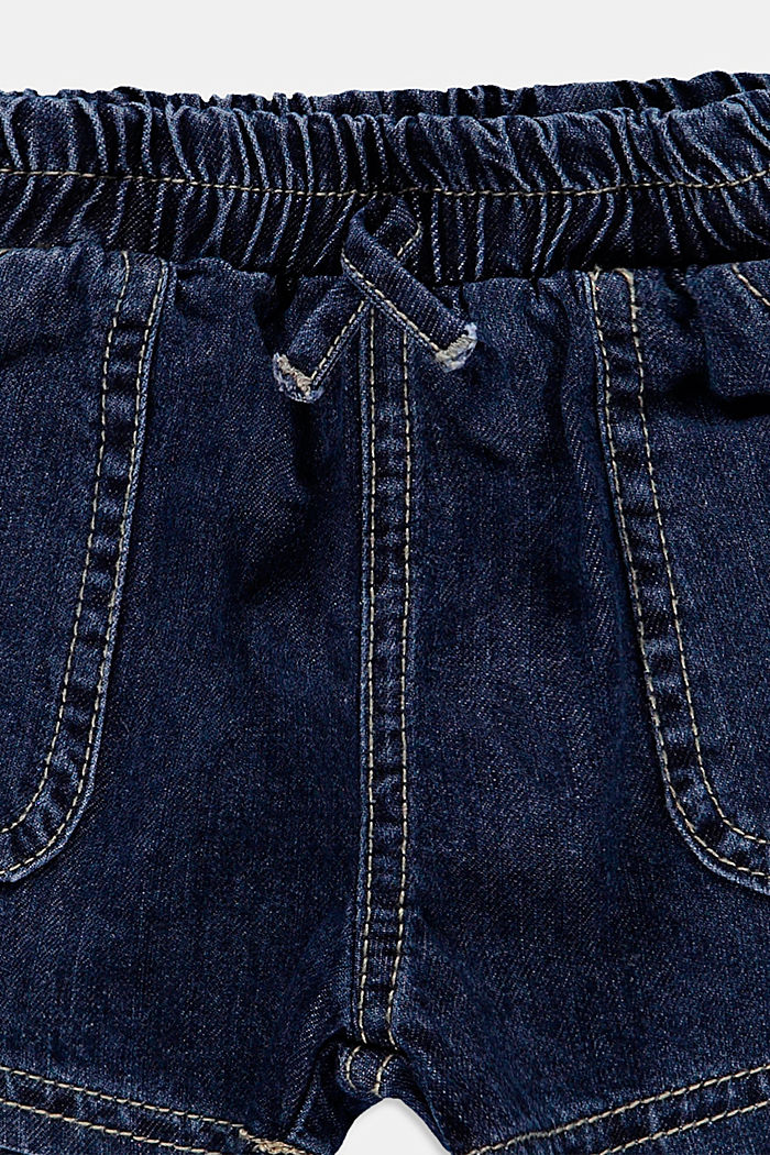 Denim shorts with an elasticated waistband, BLUE MEDIUM WASHED, detail image number 2