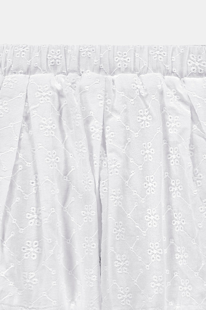 Broderie anglaise detail skirt, 100% cotton, WHITE, detail image number 2