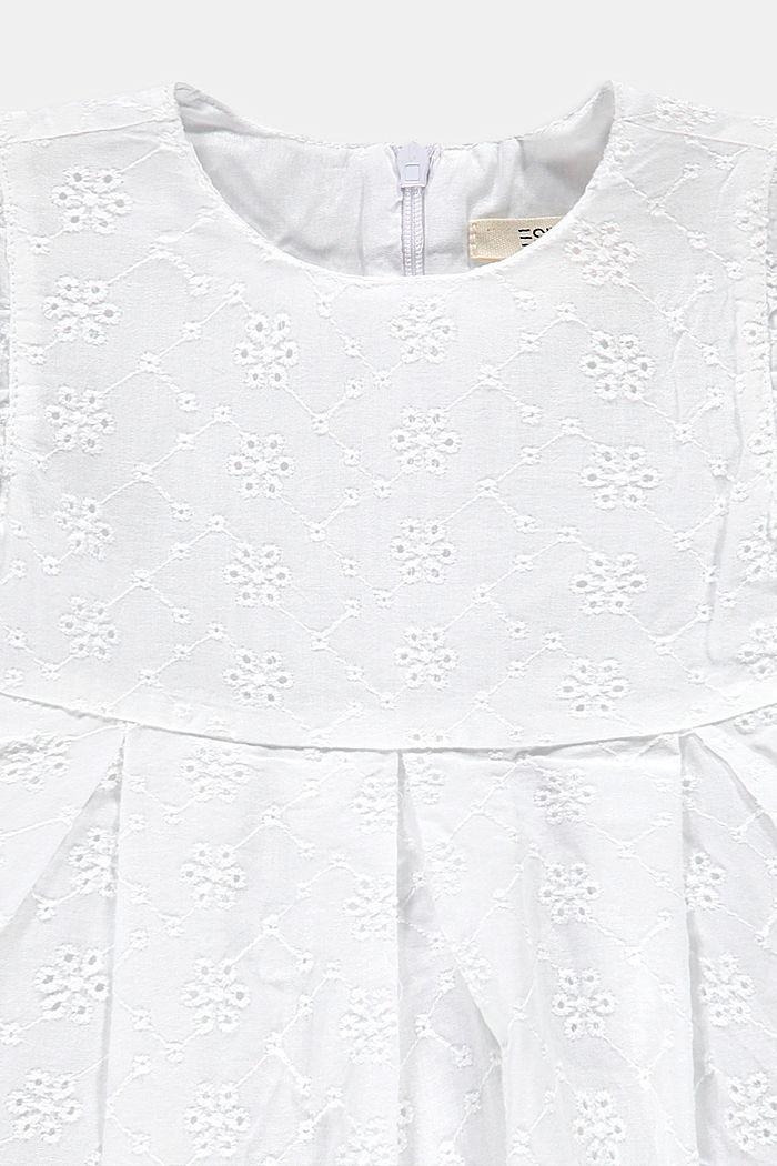 Kleid mit Lochspitze, 100% Baumwolle, WHITE, detail image number 2