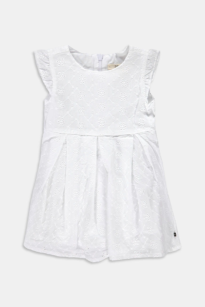 Dress with broderie anglaise, 100% cotton