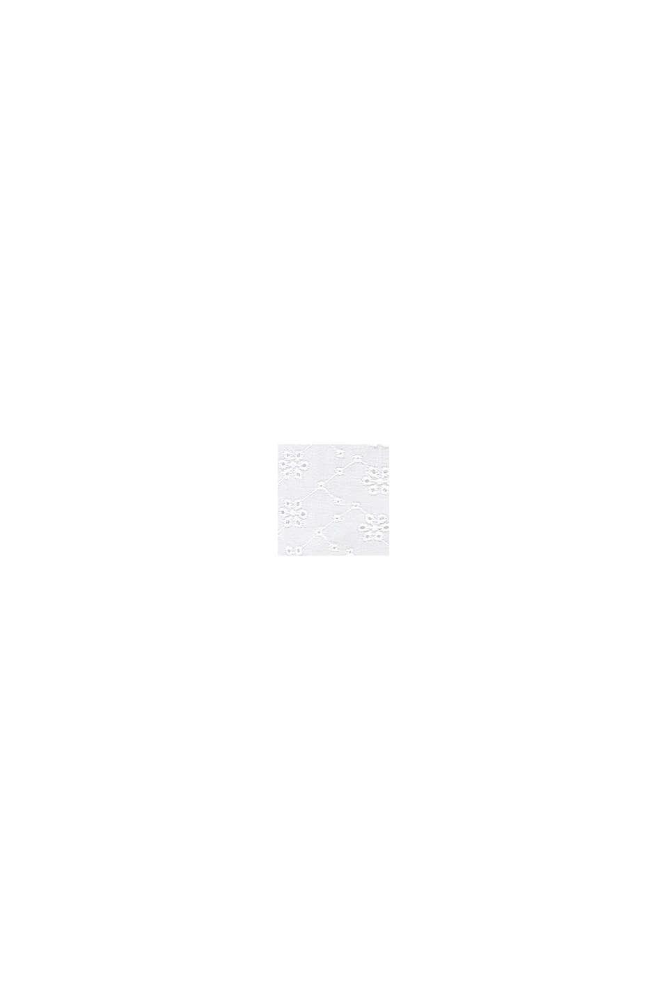 Jurk met opengewerkte kant, 100% katoen, WHITE, swatch